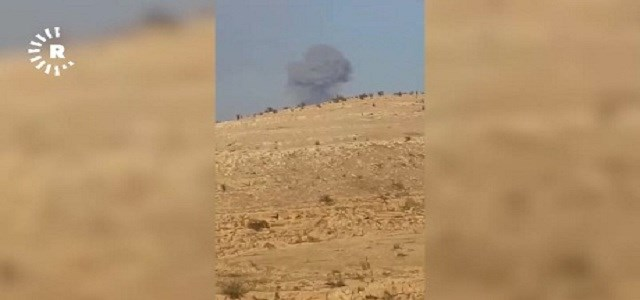This image submitted to Rudaw via video shows an explosion following US-led coalition anti-ISIS air strikes on Mount Qarachogh, near Makhmour, on November 10, 2018.
