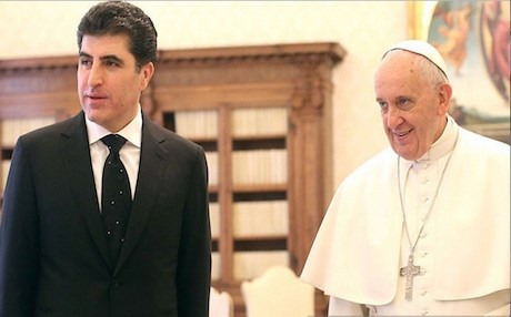 Prime Minister Barzani with Pope Francis.  AFP photo.