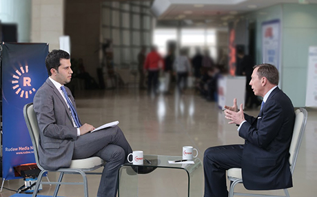 David Petraeus speaking to Rudaw on the sidelines of the Sulaimani Forum earlier this month.