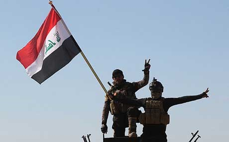 Iraqi government forces taking major control of Tikrit. AP photo