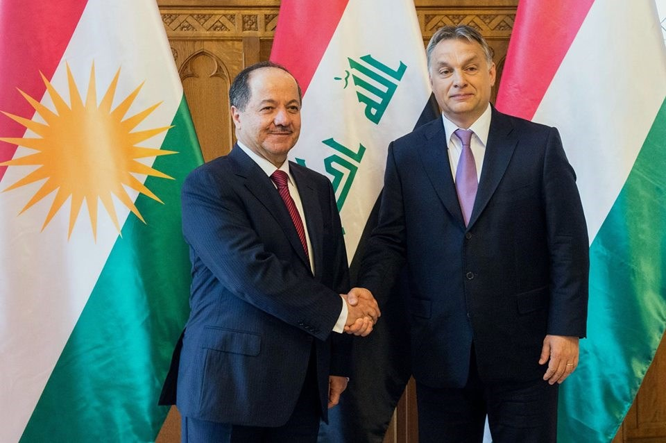Masoud Barzani, Viktor Orbán in a joint press conference in Hungary . Rudaw photo.