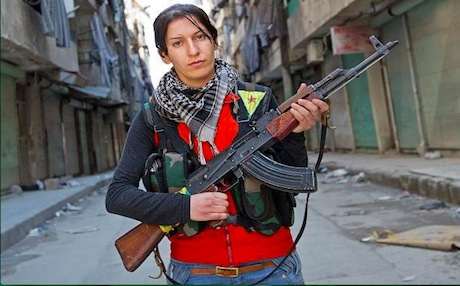 A female member of the Kurdish People's Defense Units (YPG). Her units have been locked in fierce clashes with members of the radical Jabhat al-Nusrah near the border with Turkey. Photo: AFP