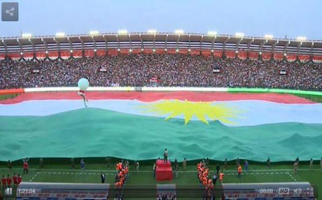 A 700-meter Kurdish flag flying over the Zakho football stadium. Rudaw file photo