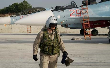 A Russian Air Force (VVS) pilot is seen in Syria Photo: AP