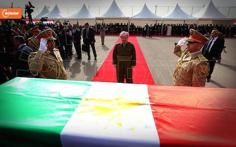 Kurdish President Masoud Barzani paying tribute to remains of Anfal victims on their return to the Kurdistan Region from mass graves in southern Iraq.