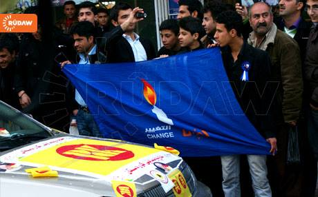 Supporters of the Change Movement (Gorran) wave their party's banner in their election campaign.