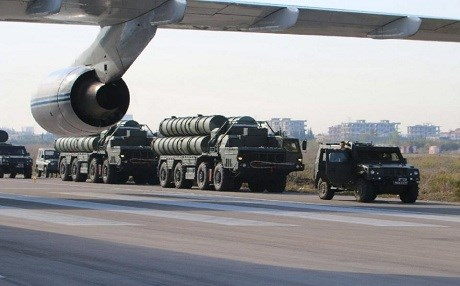 Russian S-400 air defence missile systems seen at the Hmeimim airbase in the Syrian province of Latakia. Photo: AFP