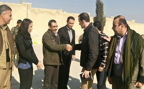 US special envoy to the anti-ISIS coalition Brett McGurk with YPG leaders in Kobani. Photo: CBS