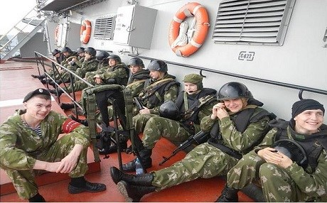 Photo purporting Russian regular troops arriving in Syria aboard a navy vessel. Photo: By24.org