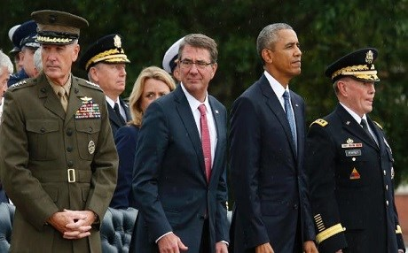 US President Barack Obama with his Defense Chief Ashton Carter. Photo: AFP