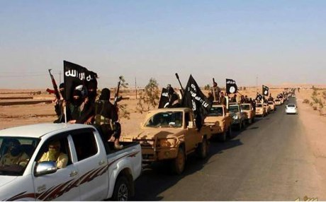 ISIS militants while holding parade in Ramadi. Photo: AP