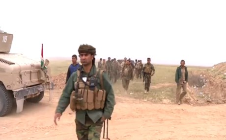 Iraqi soldiers in their push to recapture villages around Mosul on Saturday. Photo from Rudaw video.
