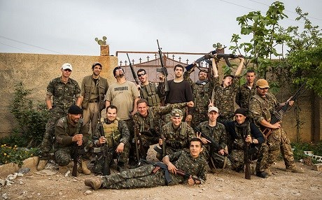 A group of international volunteers fighting with the YPG. Photo: Uygar Onder Simsek/AFP