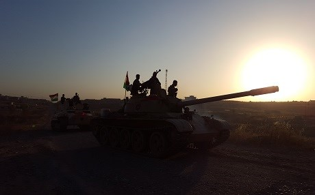 Peshmerga armor heading to battlefront against ISIS on Khazir front east of Mosul. Photo by Ayub Nuri.