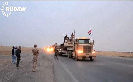 The Iraqi army moves an armoured brigade to the Makhmour front near Mosul in this image taken from a Rudaw video.
