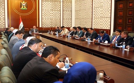Abadi meeting political figures and government officials from Nineveh province. Official photo