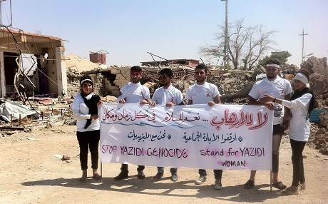 Yezidi activists return to Shingal to commemorate the genocide. Photo by the author.