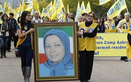 Iran considers the MEK a terrorist group but it was de-listed by the United States in 2012 after a campaign by the group, including the pictured demonstration at the White House in October 2011. Photo: Jose Luis Magana/AP
