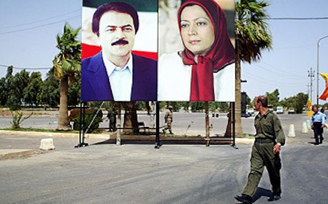 A poster of MEK leader Maryam Rajavi and her husband Masoud Rajavi at Ashraf Camp north of Baghdad. AFP file photo