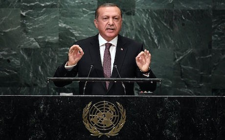 Turkey's President Recep Tayyip Erdogan addresses the 71st session of the United Nations General Assembly in New York. AP photo