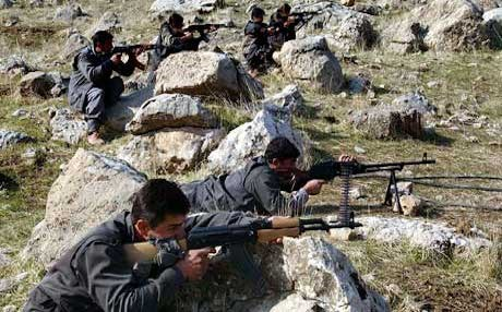 PJAK fighters training at one of their bases in the Qandil mountains near the Iranian border. Photo: AP/file