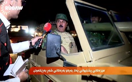Peshmerga forces on their way to the frontlines hours before the operation was launched. Photo: Rudaw video