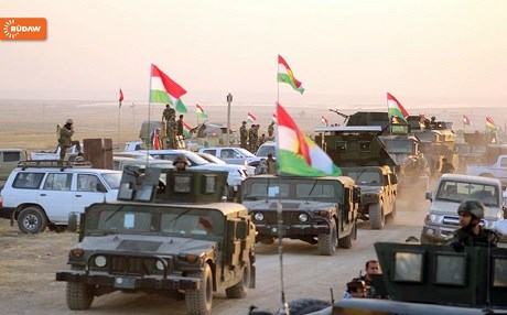 Convoy of Peshmerga vehicles participating in the Mosul operation. Hejar Jawhar / Rudaw.