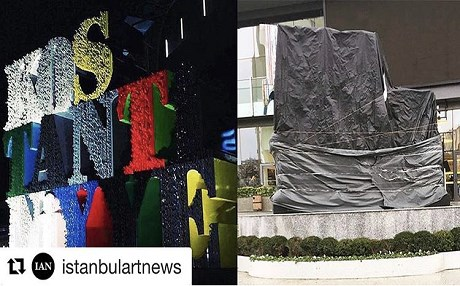The Kostantiniyye artwork before and after being covered after protests in Istanbul. Photo: Ahmet Güneştekin/Instagram