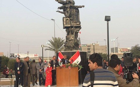 The monument was unveiled in a ceremony at Beirut Yard in the Iraqi capital of Baghdad. Photo: Rudaw