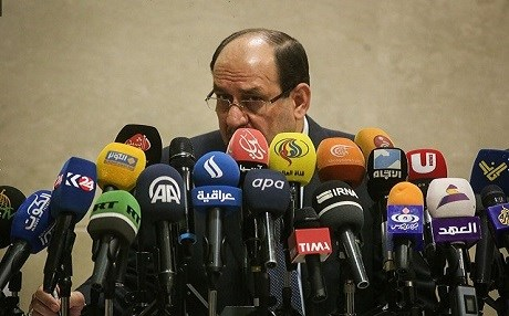 Former Iraqi PM Nouri al-Maliki Iraqi speaking at a press conference in Tehran. Photo: Iranian Mehr News Agency