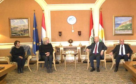 Karim Sinjari, Kurdish Interior minister receiving the Dutch ministers at Erbil International Airport. Rudaw photo