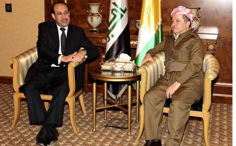 Kurdistan Region President Masoud Barzani (R) meeting with then Iraqi Prime Minister Nuri al-Maliki in Erbil, June 9, 2013. Photo: Rudaw