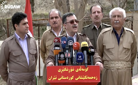 Abdulla Muhtadi, the leader of the Kurdish communist party (Komala) in Iran speaks to reporters denouncing the State of Law's motion in the Iraqi parliament to expel them in Iraq. Photo: Rudaw video