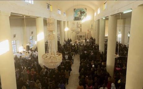 Parishioners attend a church service in Alqosh town in Nineveh Plains. Photo: Rudaw video