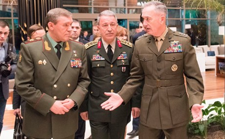 US Chairman of Joint Chief of Staff Gen. Joseph Dunford, Chief of Russian General Staff Gen. Valery Gerasimov, and Turkish Chief of General Staff Gen. Hulusi Akar all met in Antalya. Photo: US Defense Dept.