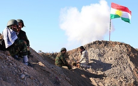 Kurdish Peshmerga forces on frontlines against ISIS in southern Kirkuk. Rudaw photo
