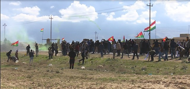 A scene of Tuesday's demonstration in Khanasour, Shingal region. Photo: ANHA