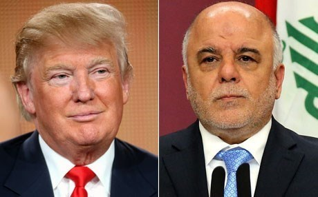 US President Donald Trump and Iraqi PM Haider al-Abadi.