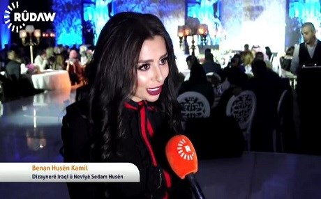 Banan Hussein Kamil, granddaughter of Saddam Hussein, was awarded best young designer. Photo: Rudaw video