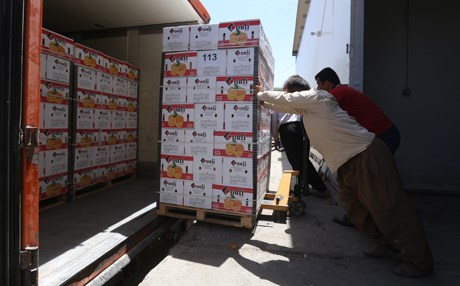 Locals load produce into a truck at a food distrubtion center. Photo: Rudaw