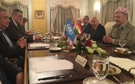 UN Secretary General Antonio Guterres (L) meeting with Kurdish President Masoud Barzani (R) in Erbil on Thursday evening. Photo: UN