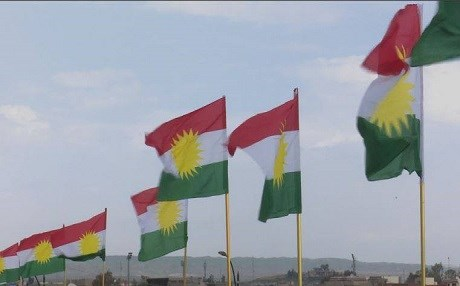 Kurdistan flag flying in Kirkuk following a majority vote by the Provincial Council on March 28, 2017. Photo: Rudaw video
