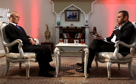 Governor of Kirkuk Najmaldin Karim discusses a range of issues with Ranj Sangawi on Thursday night. Photo: Rudaw TV