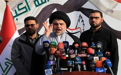 Shiite cleric Muqtada al-Sadr speaks to a gathering of supporters in Baghdad. AP photo