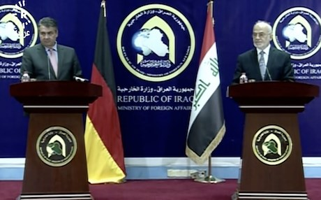 German Foreign Minister Sigmar Gabriel in a joint press conference in Baghdad with his Iraqi counterpart Ibrahim al-Jaafari. Photo: Rudaw video