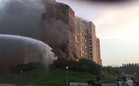 A student dormitory in Sulaimani caught fire Friday evening.