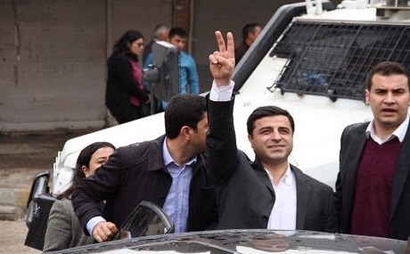 The HDP's ​Selahattin Demirtaş outside a courthouse in Turkey in 2016. Photo: HDP