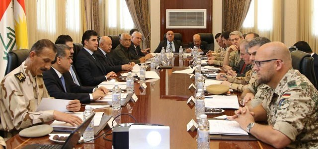A defense team from the global coalition representing US, UK and Germany has met on Sunday with Prime Minister Nechirvan Barzani, his deputy Qubad Talabani, Peshmerga minister Karim Sinjari and Peshmerga commanders in Erbil. Photo: PM media office.