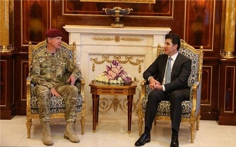 Gen. Tom Beckett, the British prime minister's special envoy for security affairs in Iraq, meets with Kurdish Prime Minister Nechirvan Barzani in Erbil on Tuesday. Photo: Kurdish PMO