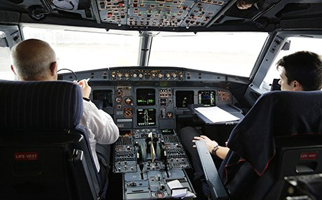 The cockpit of an airplane at Erbil International Airport in the Kurdistan Region. File photo: Rudaw
